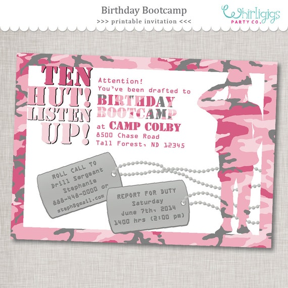 Pink army invitation birthday bootcamp birthday invite printable il570xn filmwisefo