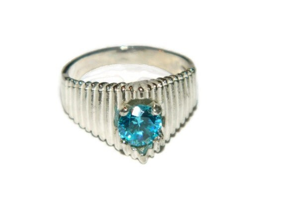 Blue Diamond Ring, Middle Finger Ring,Dinner Ring, Cocktail Ring, Pyramid Ring, Jewelry Sale Item
