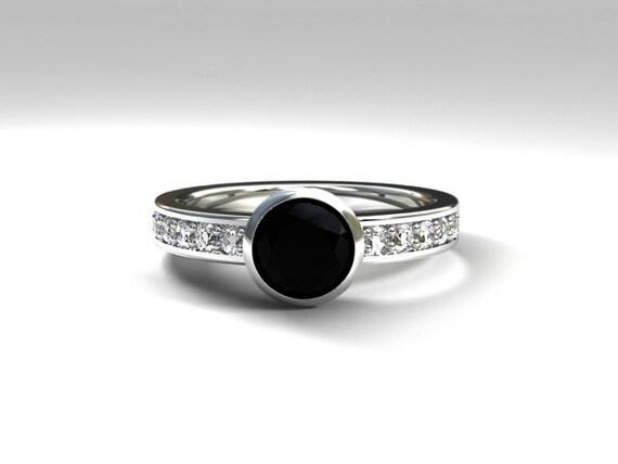 Black diamond engagement ring Rose gold ring by TorkkeliJewellery