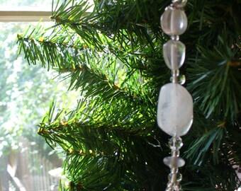 Christmas in July, Christmas Ornament, Glass Crystal Ornament, Christmas Dangle, Sun Catcher, Holiday Ornament, Holiday Dangle