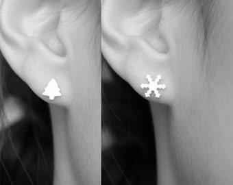 Handmade Silver Christmas Earrings - Sterling Silver Earring Post - Silver Jewelry - Silver Clay - PMC