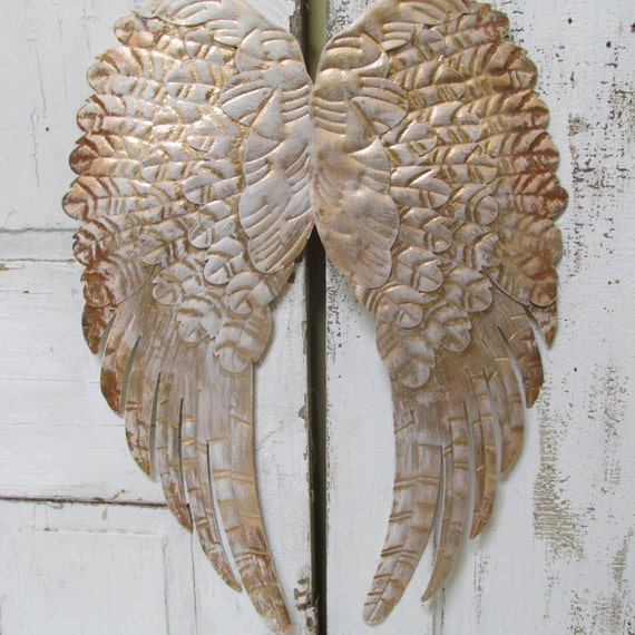 Large angel wings wall decor rusty gold distressed shabby chic pinkish  white hand painted by anita