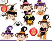 Monkey Halloween Clipart Set