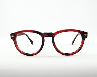 Vintage 80s OWP Round Chunky Light Tortoise Shell Red Frames.