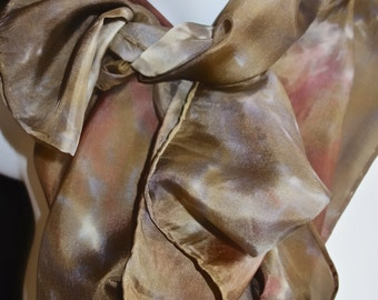 "Tennessee Firewood SILK SCARF. Hand Painted Silk Scarf by New York City artist Joan Reese/100%Silk/11''x60"" Free Shipping"