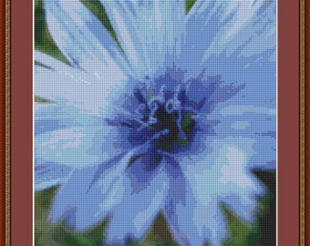 Blue Flower Cross Stitch Pattern