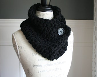 Black Cowl Neck Scarf  with black button, crocheted