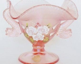 Vintage Fenton Art Glass Company Velva Rose Double Dolphin, Vintage Velva Rose Stretch Glass Compote, Fenton Double Dolphin, Vintage Fenton,