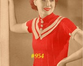 Vintage 1934 Parisian Striped Blouse 954 PDF Digital Crochet Pattern