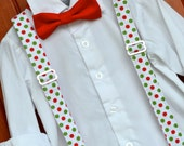 Little boy christmas outfit, little boy bow tie and suspenders, baby christmas outfit, christmas bowtie, polka dot suspenders, Christmas tie