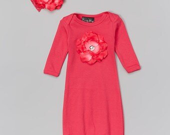 Fuchsia Flower Gown Take Home Outfit and Headband with Iridescent Rhinestone Center
