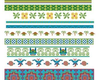 Cross stitch borders PDF pattern. Asian cross stitch border. Batik inspired cross stitch border pattern. Tribal cross stitch.