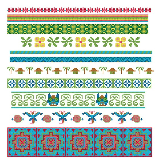 Cross Stitch Borders Pdf Pattern Asian on 570 islamic decorative patterns