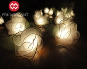 20 White Big Rose Flower Fairy Lights String 3.5M Home Accent Floral Party Patio Wedding Floor Table or Hanging Gift Home Decoration