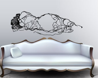 """Large Wall Art inspired by Klimt's """"Reclining female nude"""" vinyl wall decal - livingroom and nursery wall art (ID: 111038)"""