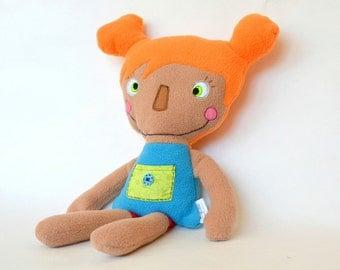 Stuffed handmade Red head Doll Soft Safe children toy Colorefull  OOAK doll Fleece Cotton Felt