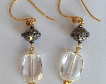 Crystal Drop Earrings Sterling Silver Ball Pave Diamond Bead  Vermeil Bali Ear Wire