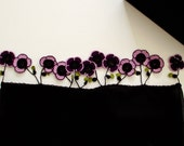Violets on the Tube Shaped Black Scarf, Crochet Purple Violets, Beadwork, ReddApple, Fast Delivery
