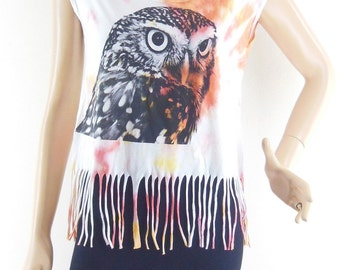 Owl Tank Top Dyed Fabrics Women Crop Top Tee Shirt Owl T-Shirt Screen Print Size S
