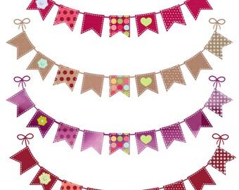 4 Printable Banner digital Banner flag Banner flag clip art bunting banner clip art pink purple burgandy paper bag banner digital