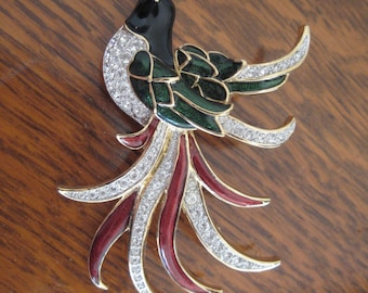 Vintage 80s Enamel and Rhinestone Bird Brooch in Colorful Red Green and Black Enamel