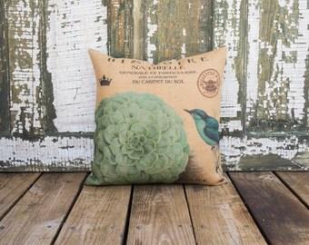 Hydrangea Burlap Pillow, French Script, Blue Bird, Decorative Pillow