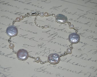 Natural White Freshwater Pearls  Wire Wrap Bracelet