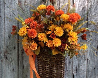 Fall Basket, Orange Mum Basket, Chrysanthemum Basket, Autumn Front Door Basket, Fall Decoration