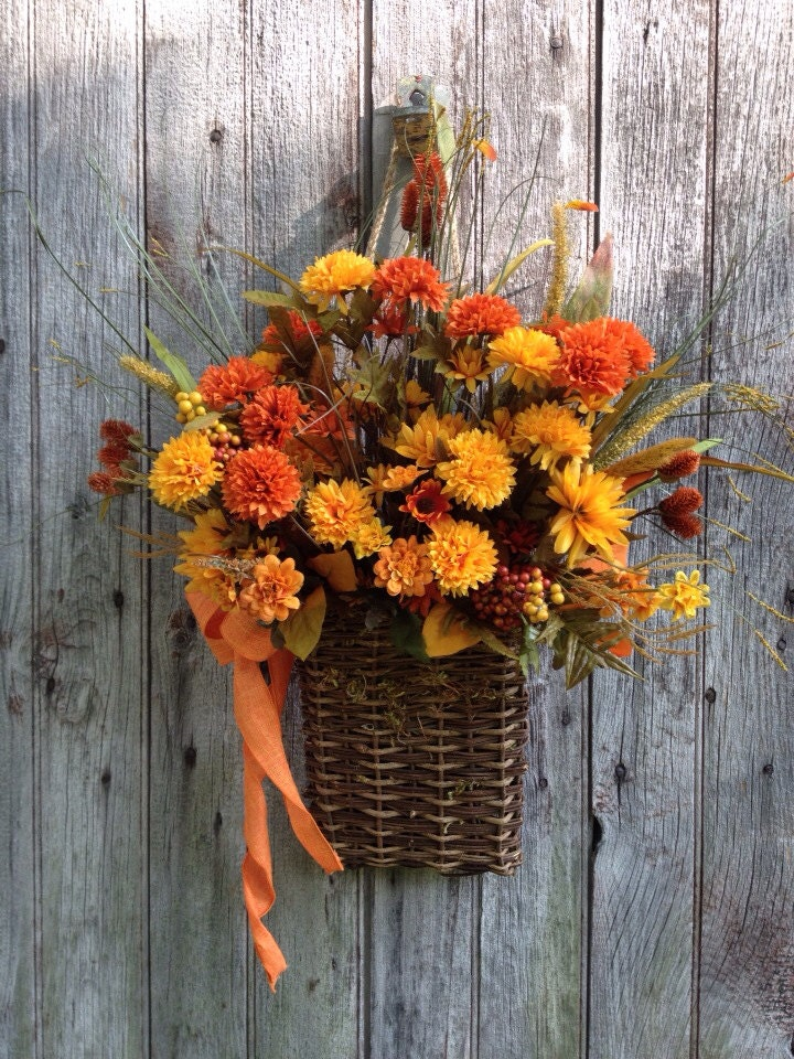Fall Basket Orange Mum Basket Chrysanthemum Basket Autumn