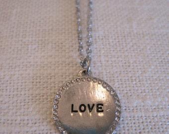 "Silver ""Love"" Necklace - Silver Rhinestone ""Love"" Necklace - Love Medallion Necklace - Love Jewelry - Romantic Necklace - Sentiment Jewelry"