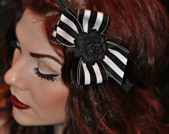 Black Headband with Black and White Stripe Bow and Black Rose Center