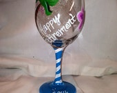 Retirement Wine Glass With Palm Trees And Flowers, Happy Retirement With Name, Personalized Retirement Glass