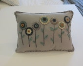 Penny Pillow, Felt Pillow Appliqued with Penny Flowers & Emroidered, Decorative Throw Pillow, OFG