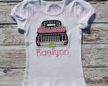 Custom Personalized Kids Strawberry Patch Truck Applique Shirt, Girls Strawberry Shirt, Boys Strawberry Shirt, Kids Spring Shirt