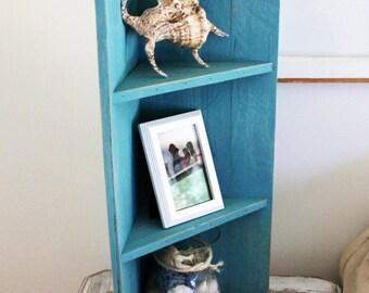 Small Aqua Wood Corner Shelf