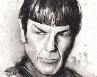 Spock Watercolor Art Print Spock Portrait Spock Painting Art Print Star Trek Art Star Trek Print Black and White, Leonard Nimoy Art
