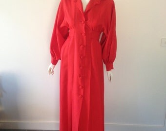 1970s Red Jacket Dress Size 12-14 / L Home made