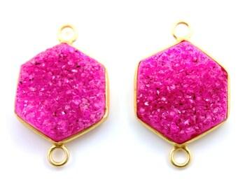 Pink Druzy Crystal Cluster Bezel Cushion Connector, AAA quality Gemstone 20x23mm, 1 Piece (BZC9029-B)