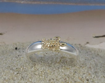 Sea Turtle Stacking Ring, Solid 14k Gold and Sterling Silver