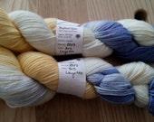 "Lorna's Laces Shepherd Sport - in  ""Layette"" cream, yellow, blue"