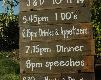 WEDDING CEREMONY schedule on rustic painted fence wood sign LARGE
