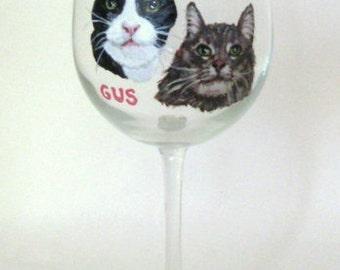 Cats, Wine Glass, Hand Painted Cat, Custom Pet Portrait, Personalized Pet, Cat Art, Pet Loss Memorial, Petzoup, Cat Painting