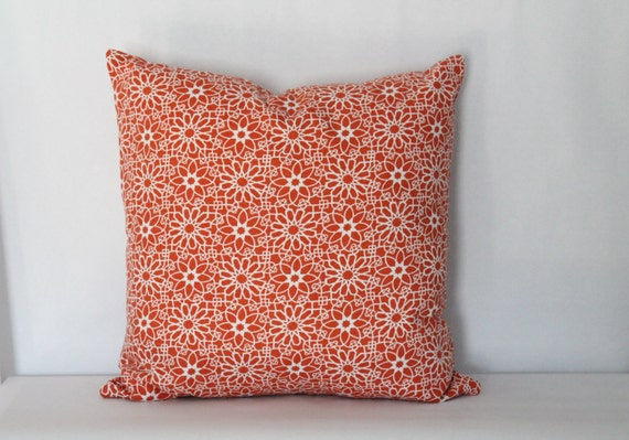Modern Orange Pillow Cover: Botanical Print Throw Pillow, Burnt Orange, Modern Floral Toss Pillow--18 x 18 inch square--Ready to Ship