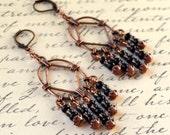 Copper Chandelier Earrings Black Boho Long Dangle Bohemian Drop Beads Lever Back Chic Fashion Jewelry Jewellery Free Shipping PaisleyBeading