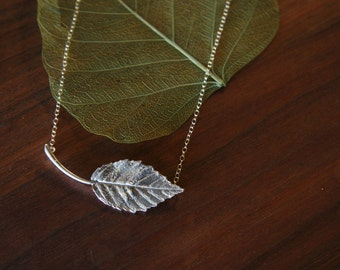 Sterling Silver European Beech Tree Leaf Necklace, European Beech, Beechnut,