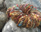 Hand spun yarn - hand painted border leicester fleece yarn - super bulky art yarn - 75 yards - 9.5 oz.