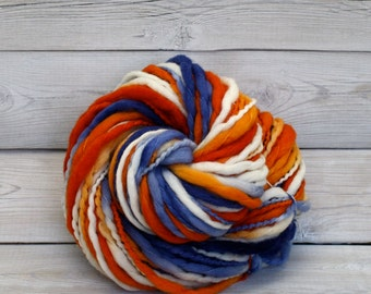 Titan - Hand Dyed Thick-n-Thin Merino Wool Bulky Chunky Yarn - Colorway: Denver Broncos