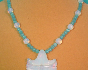 "Beautiful 18"" Turquoise Cats Eye and Opalite  Necklace and Earrings Set - S009"