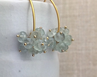Moss Aquamarine Faceted Rondelle Cluster Earrings on Gold Vermeil Earwires, Item 798