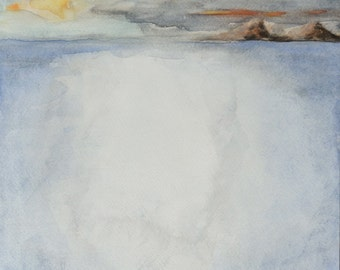 "Shining Deep. Fine art watercolor painting, original, strange weather seascape.  9.4"" x 11.4"""